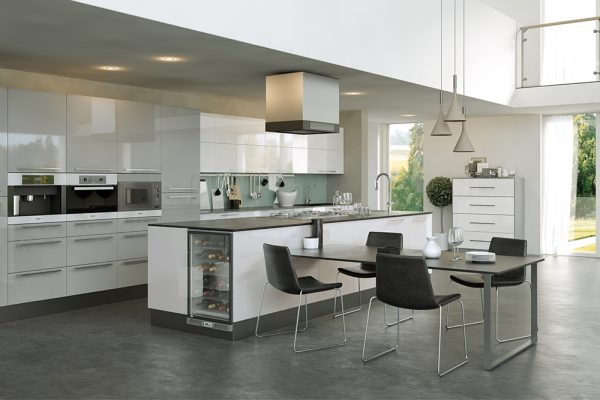 Firbeck Supergloss White and Supergloss Light Grey Kitchen